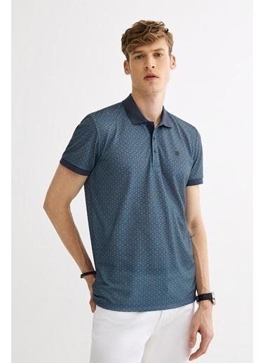Avva Erkek  Polo Yaka Baskılı Tişört A01Y1017 İndigo